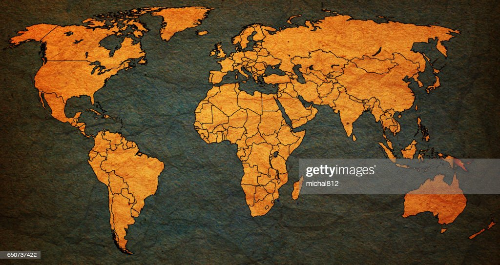 Papua New Guinea Territory With Flag On World Map Stock Illustration