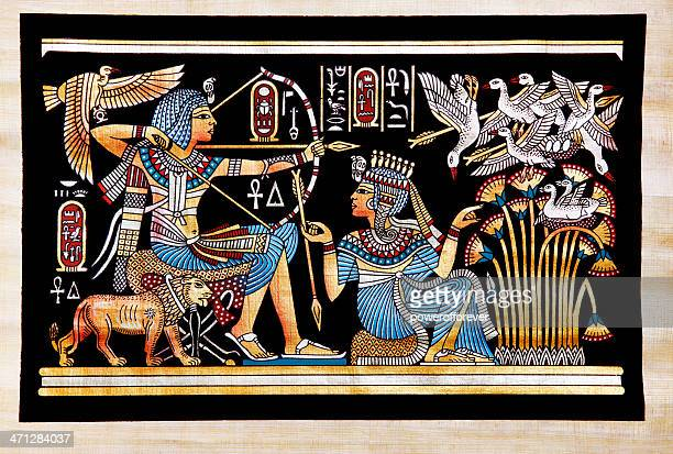 Papyrus Depicting Tutankhamon Hunting Birds