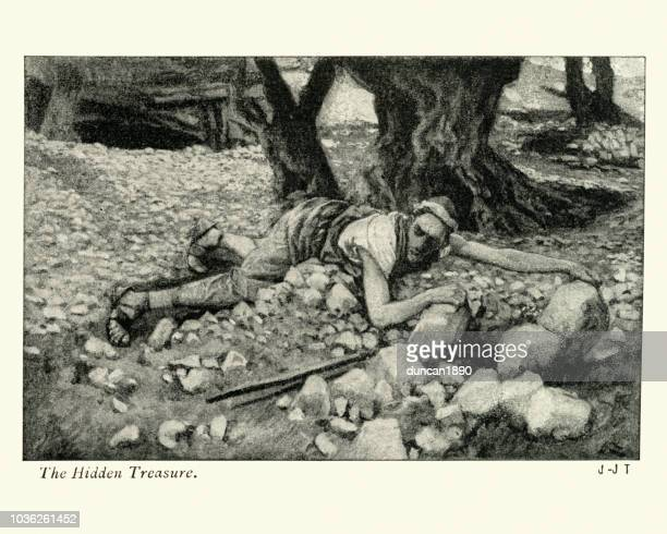 parable of the hidden treasure - buried stock illustrations, clip art, cartoons, & icons