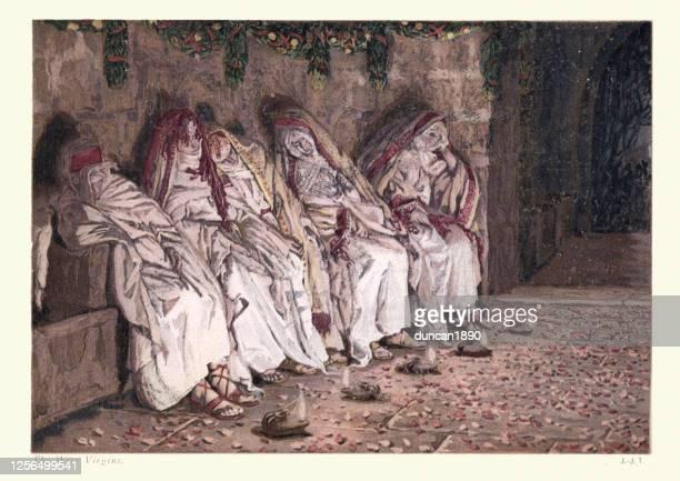 parable of the ten virgins - prayer book stock illustrations