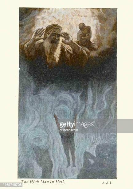 gleichnis, der reiche mann in der hölle - james tissot stock-grafiken, -clipart, -cartoons und -symbole