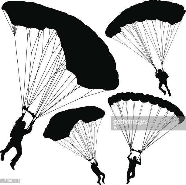 illustrations, cliparts, dessins animés et icônes de parachutisme - saut en parachute