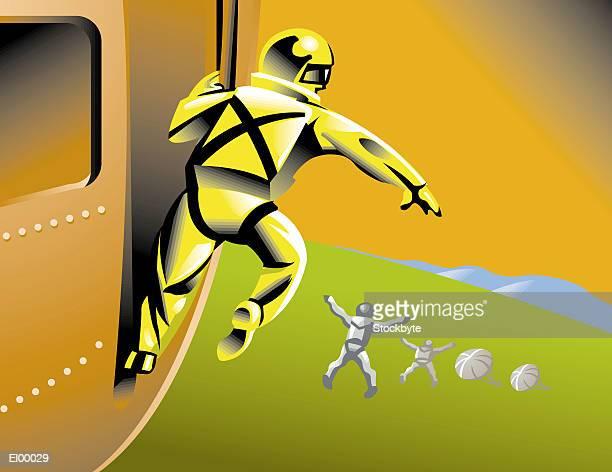 parachutist jumping from plane - paratrooper stock illustrations, clip art, cartoons, & icons