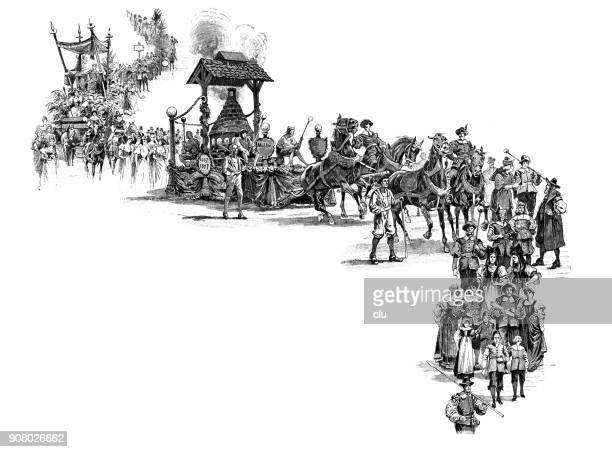 parade at the jubilee celebration of the thuringian glass industry - parade stock illustrations