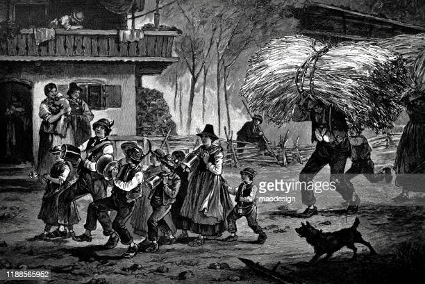 parade in the village to celebrate the harvest - 1887 stock illustrations, clip art, cartoons, & icons