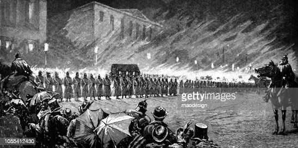 parade of the prussian army under the supervision of a general on horseback - 1888 - military parade stock illustrations