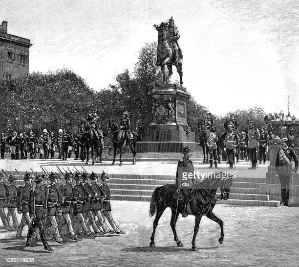 parade of the troops in front of the monument to emperor wilhelm i - lorraine stock illustrations, clip art, cartoons, & icons