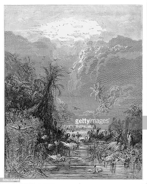 paradise engraving 1885 - john milton stock illustrations, clip art, cartoons, & icons
