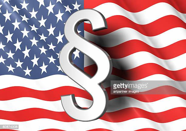 paragraph sign and us national flag - national flag stock illustrations