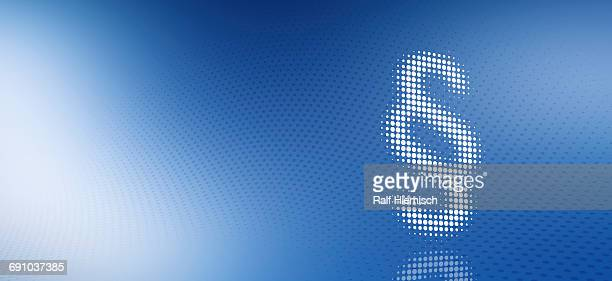 paragraph sign made from dots over blue background - colour gradient stock illustrations