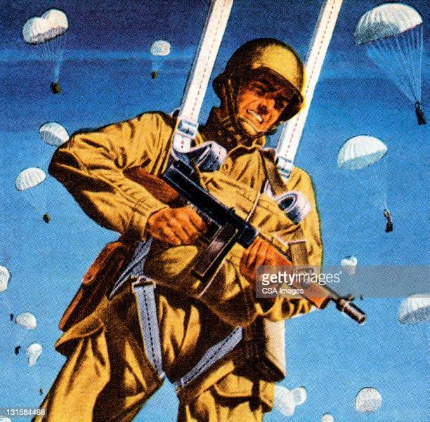 ilustraciones, imágenes clip art, dibujos animados e iconos de stock de soldado paracaidista pistola de rodaje - vista de ángulo bajo