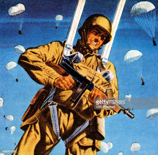 paratrooper shooting gun - paratrooper stock illustrations, clip art, cartoons, & icons