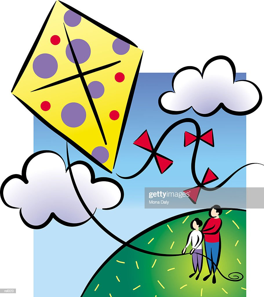 Parent & Child Flying Kite : Ilustração de stock