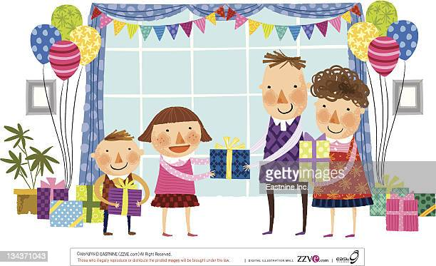 parents giving gifts to children - 8 9 years stock illustrations, clip art, cartoons, & icons
