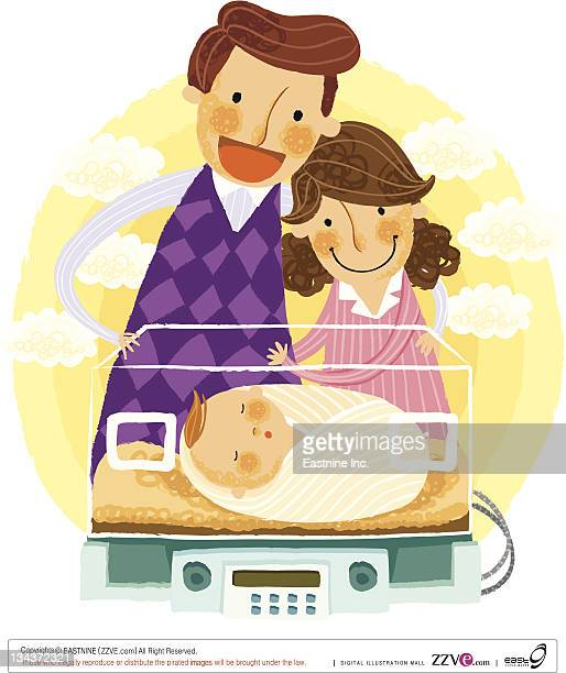 illustrations, cliparts, dessins animés et icônes de parents looking at newborn baby in an incubator - famille avec un enfant
