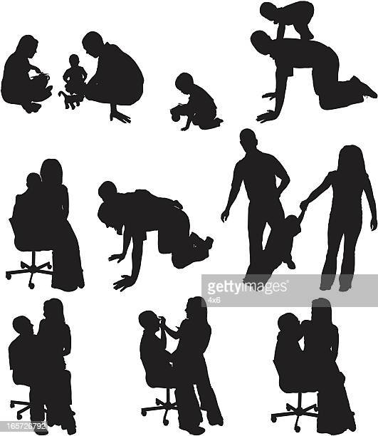 parents playing with their children - image technique stock illustrations