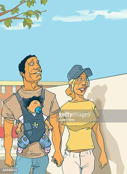 ilustraciones, imágenes clip art, dibujos animados e iconos de stock de parents with baby (6-9 months) in carrier holding hands - mujeres de mediana edad
