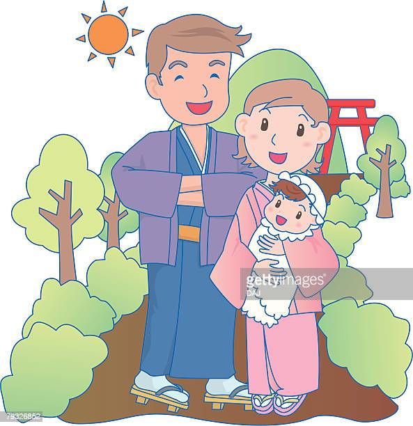 parents with baby paying homage at a shrine, smiling, mother holding baby - japanese mom stock illustrations, clip art, cartoons, & icons