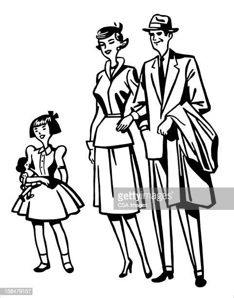 parents with little girl - arm in arm stock illustrations, clip art, cartoons, & icons