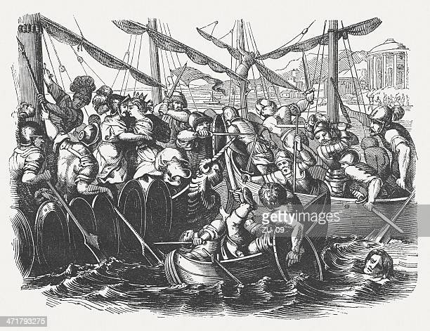 paris abducting helen, greek mythology, wood engraving, published in 1864 - trojan war stock illustrations, clip art, cartoons, & icons