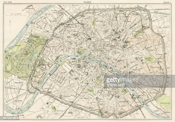 paris city map 1885 - antique stock illustrations