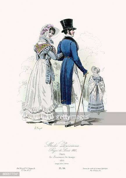 stockillustraties, clipart, cartoons en iconen met paris fashion of the early 19th century - versierde jurk