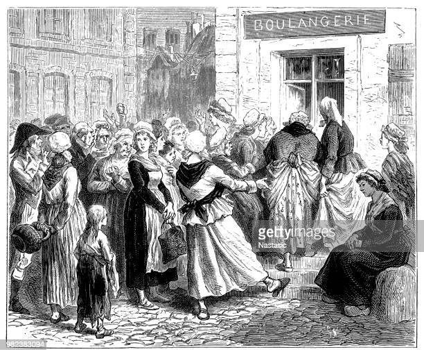 paris housewives queue at the door of a boulangerie during a bread shortage - artisanal food and drink stock illustrations, clip art, cartoons, & icons