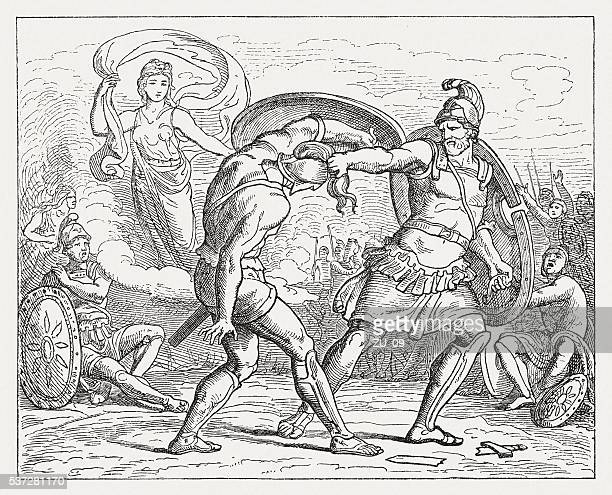paris saved by aphrodite from the wrath of menelaus - aphrodite stock illustrations, clip art, cartoons, & icons