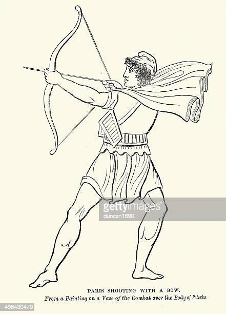 paris shooting with a bow - trojan war stock illustrations, clip art, cartoons, & icons