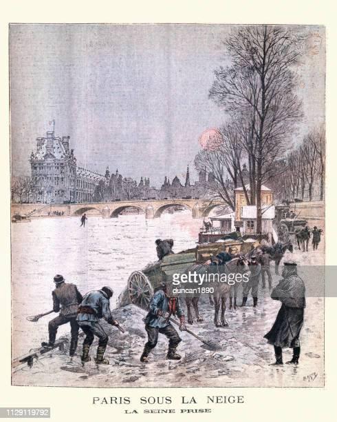 paris under the snow, river seine frozen, february 1895 - winterdienst stock illustrations