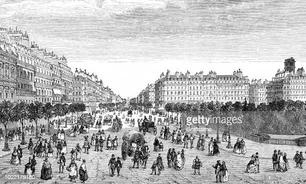 Paris with Boulevard Sebastopol and St. Jaques Tower in France 1876