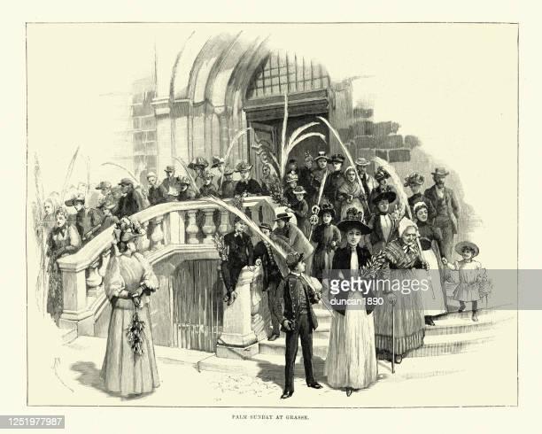 ilustrações, clipart, desenhos animados e ícones de paroquianos deixando igreja na palma da mão domingo, grasse, frança, século xix - sunday best