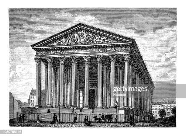 parisian church la madeleine - pediment stock illustrations, clip art, cartoons, & icons