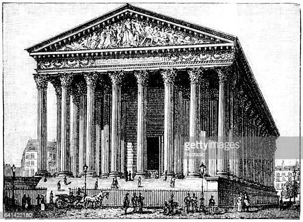 ilustrações, clipart, desenhos animados e ícones de igreja parisiense la madeleine - pediment