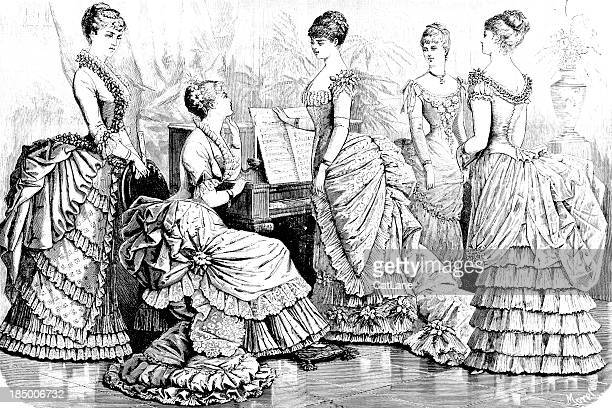 parisian fashions - victorian engraving - 19th century style stock illustrations