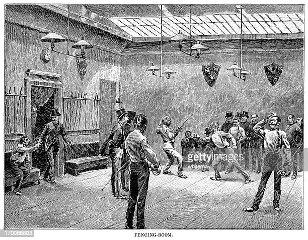 Parisian fencers practising in a fencing room