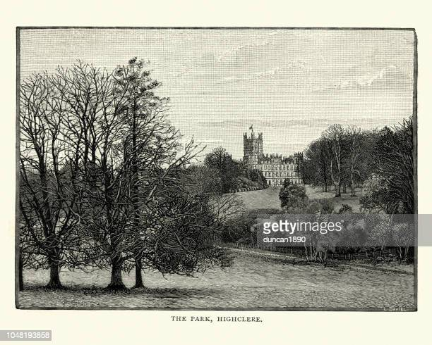 ハイクレア城、ハンプシャー、イギリス 19 世紀公園 - ハイクレア城点のイラスト素材/クリップアート素材/マンガ素材/アイコン素材