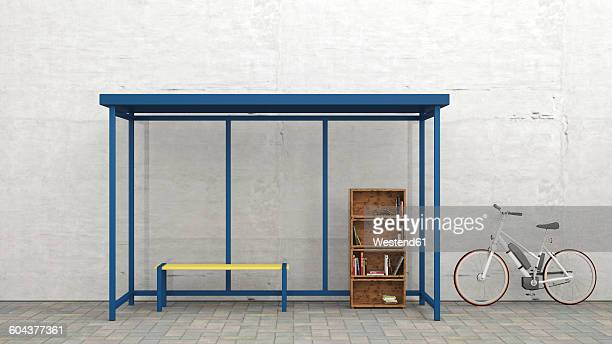 parked electric bicycle besides a bus stop with bookshelf, 3d rendering - giving stock illustrations