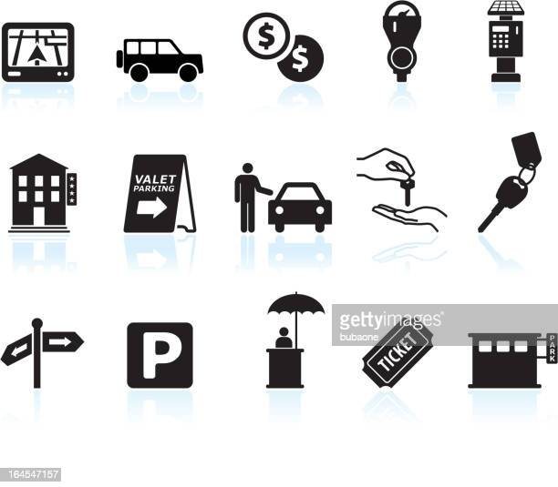 parking options black & white royalty free vector icon set - parking sign stock illustrations
