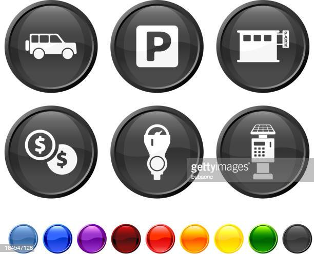parking options royalty free vector icon set - parking meter stock illustrations