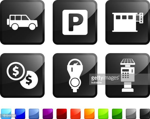 parking options royalty free vector icon set stickers - parking meter stock illustrations