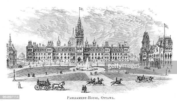 parliament house ottawa engraving 1881 - parliament building stock illustrations