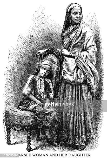 Parsee woman and her daughter