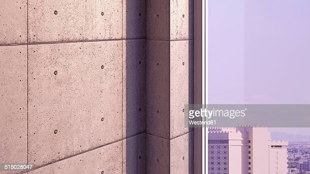 part of concrete wall and window with view, 3d rendering - concrete wall stock illustrations, clip art, cartoons, & icons