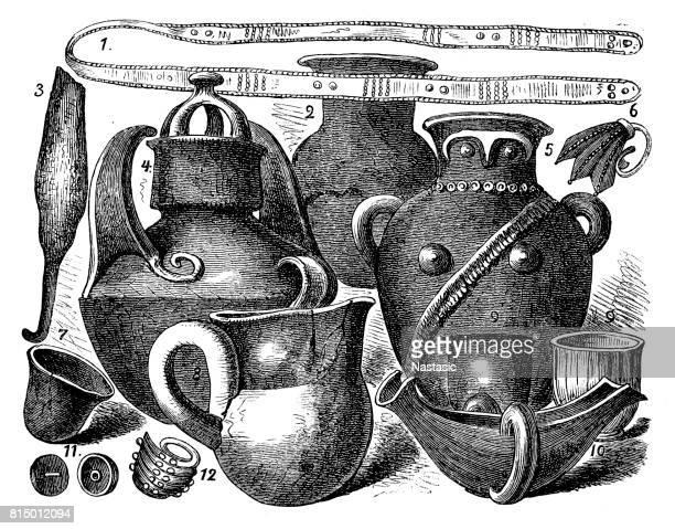 part of priam's treasure, found by heinrich schliemann - trojan war stock illustrations, clip art, cartoons, & icons