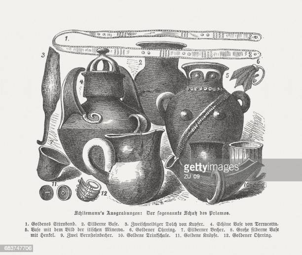 part of priam's treasure, found by heinrich schliemann, published 1880 - trojan war stock illustrations, clip art, cartoons, & icons