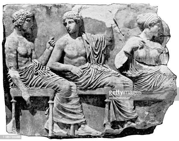 ilustrações, clipart, desenhos animados e ícones de parte do friso do partenon na acrópole de atenas - século v ac - partenão acrópole