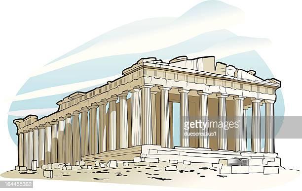 parthenon at acropolis, athens - temple building stock illustrations, clip art, cartoons, & icons