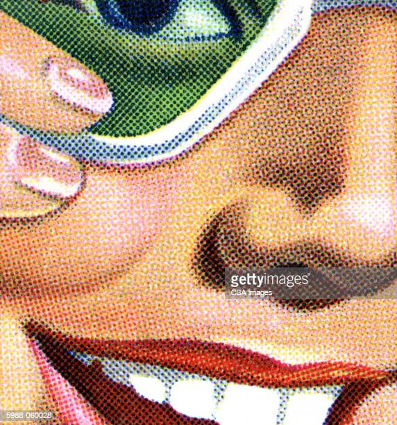 partial view of woman's face - carefree stock illustrations