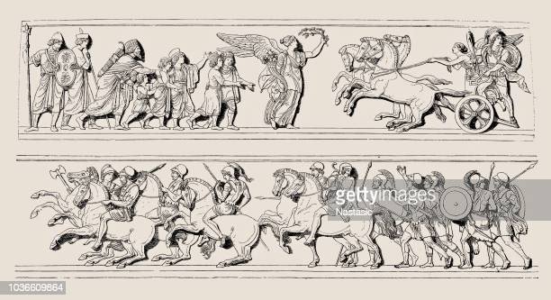 parts of the alexander campaign ,by albert bertel thorvaldsen - relief carving stock illustrations